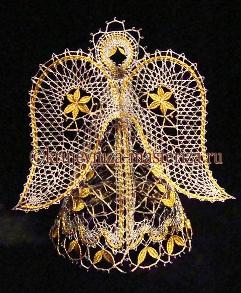 Ангел, золото-серебро, вид сзади